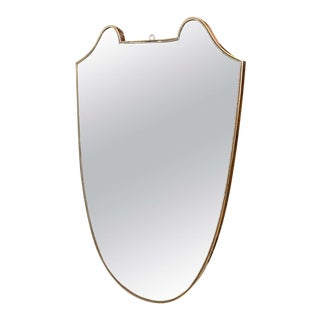 1950s Italian Mid-Century Modern Brass Wall Mirror in the Manner of Gio Ponti For Sale