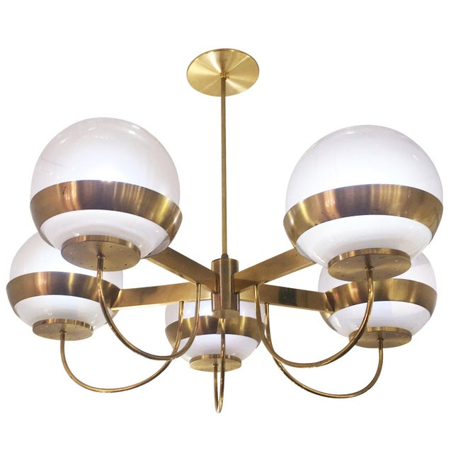 Brass Chandelier by Lamperti, Italy, 1960s For Sale - Image 4 of 7