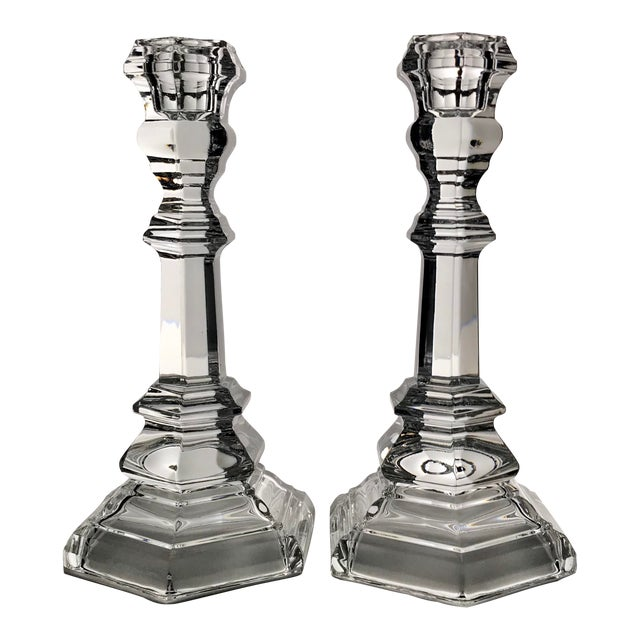 Vintage Tiffany & Co Crystal Plymouth Candlesticks - a Pair For Sale