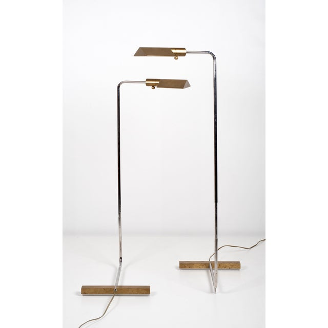 Cedric Hartman Cedric Hartman Early Brass and Chrome Swivel Floor Lamps, 1960's - a Pair For Sale - Image 4 of 10