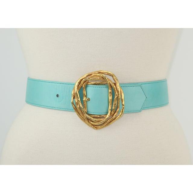 Christian Lacroix Christian Lacroix Sculptural Gold Tone Buckle & Aqua Leather Belt For Sale - Image 4 of 12