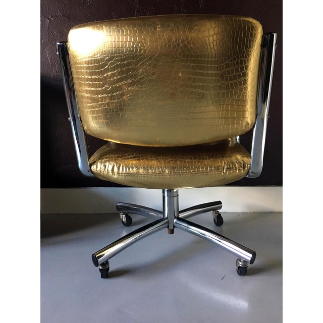 1990s Castelli Style Metallic Mock Croc Swiveling Office Chair For Sale - Image 5 of 8
