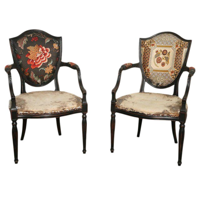 Pair of Neoclassical Elegant Wooden Armchairs For Sale