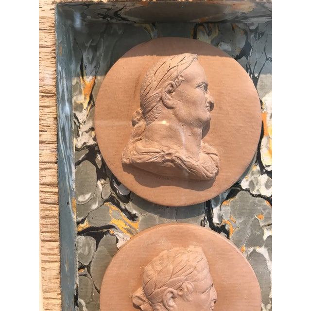 Mid 19th Century 19th Century Italian Terracotta Intaglios in Custom 24-Karat Gilded Frame For Sale - Image 5 of 7