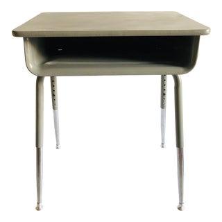 School Desk Refurbished Gray/Gray 23x17 For Sale