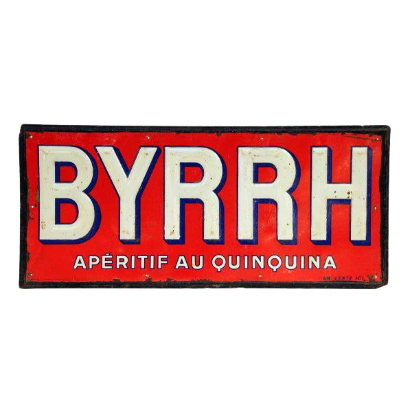 French BYRHH Red & White Liquor Signs - A Pair For Sale