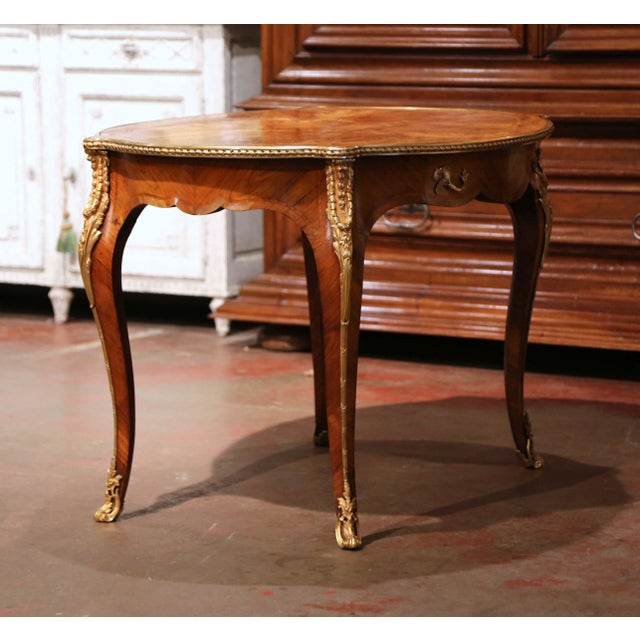 Bronze 19th Century French Louis XV Oval Walnut Marquetry and Bronze Center Table For Sale - Image 8 of 13