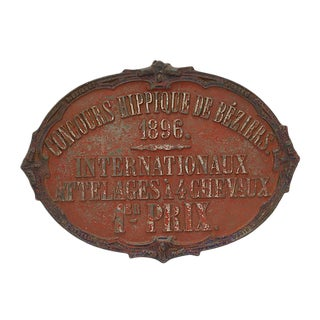 1896 French 1st Place Horse Award Plaque For Sale