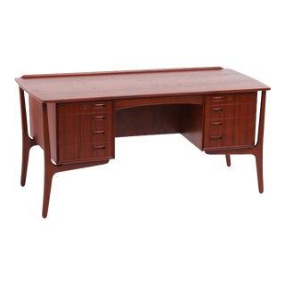 Vintage Danish Modern Svend Madsen for H. P. Hansen Executive Teak Desk For Sale