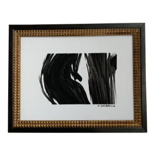 Abstract Black Painting in Antique Frame For Sale