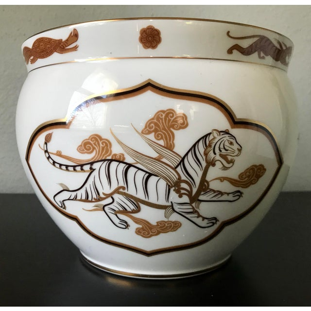 Ceramic 1970s Vintage Porcelain Okura Byakko White Tiger Bowl For Sale - Image 7 of 7