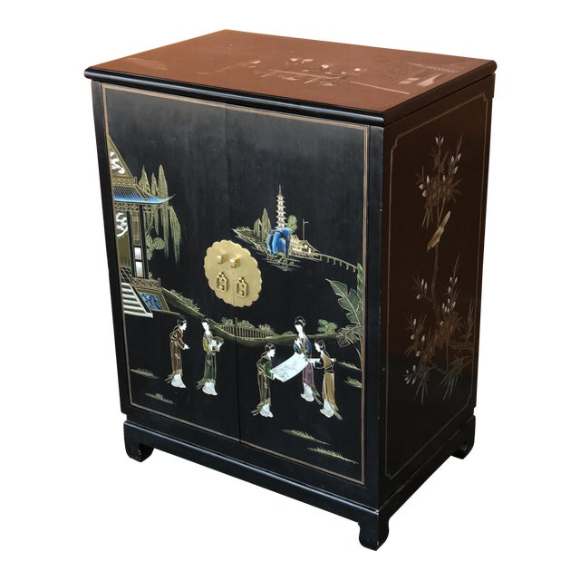 Chinese Lacquer Bar Cabinet For Sale