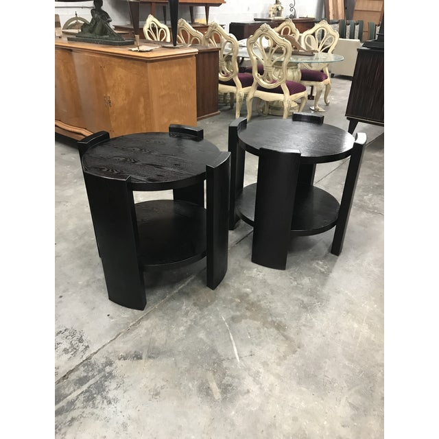 French Art Deco Solid Ebonized Cerused Oak Coffee Tables - A Pair - Image 11 of 11