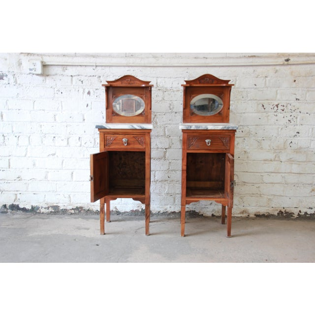 Victorian Walnut & Marble Nightstands - a Pair - Image 6 of 11