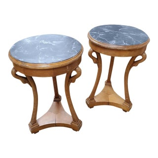 Beidermeier Style Round Pearwood Occasional Tables - a Pair For Sale