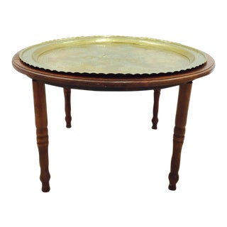 Vintage Brass Tray Top Coffee Table For Sale