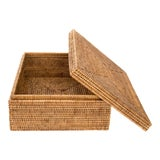 Image of Artifacts Rattan Storage Box With Lid - Honey Brown For Sale