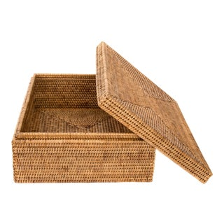 Artifacts Rattan Storage Box With Lid - Honey Brown For Sale
