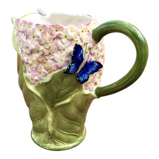 Majolica Cabbage and Floral Pitcher For Sale