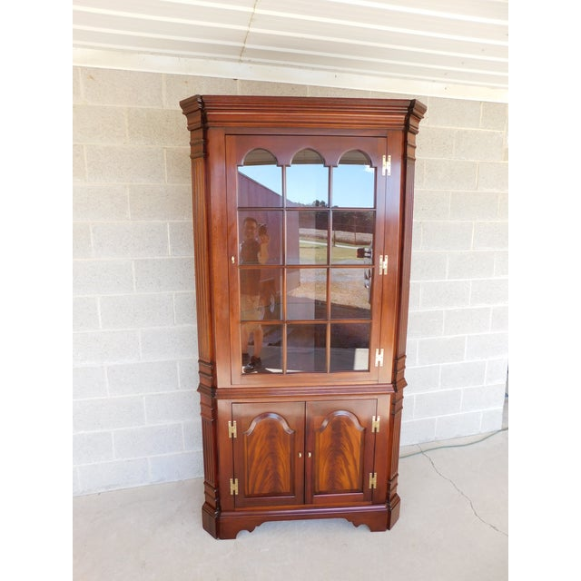 Councill Craftsmen Mahogany Chippendale Style Lighted Corner Cabinet For Sale - Image 12 of 13