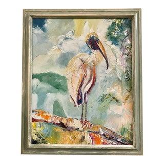 """Stork Bird on Branch"" Original Oil Painting in Blue Wood Frame For Sale"