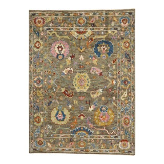 Modern Oushak Style Rug with Bright Colors, Contemporary Oushak Rug