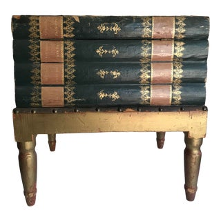 Antique French Faux Book Side Table With Storage For Sale