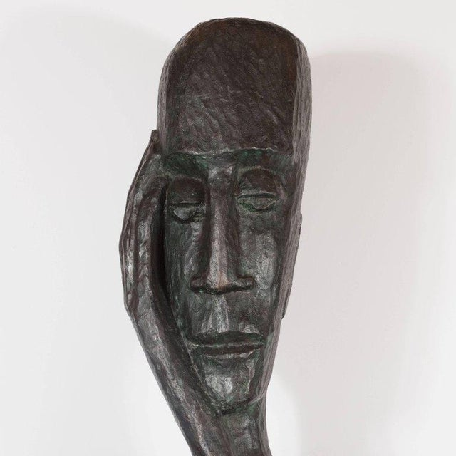 Signed Mid Century Modern Large Scale Patinated Bronze Sculpture For Sale In New York - Image 6 of 10