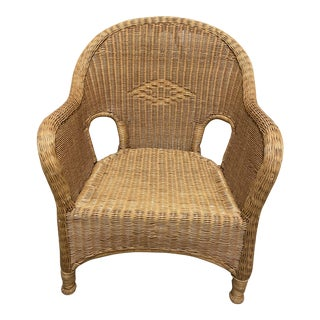 Golden Traditional Wicker Chair For Sale