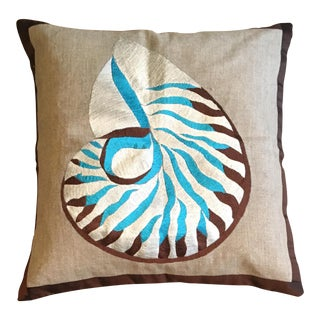Teal & Brown Shell Embroidered Pillow Case