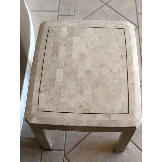 Maitland - Smith 1970s Postmodern Maitland-Smith Tessellated Stone Side Table For Sale - Image 4 of 6