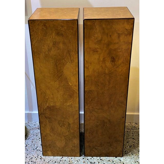 Vintage Drexel Heritage Pedestals Burlwood Restored - a Pair For Sale - Image 11 of 11