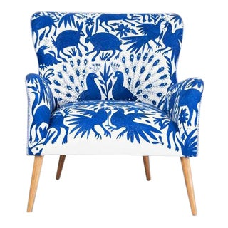 1960s Boho Chic Blue and White Embroidered Lounge Chair For Sale