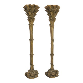 Serge Roche Style Gilded Palm Tree Torchiere Style Floor Wall Sconce Lamps - a Pair For Sale