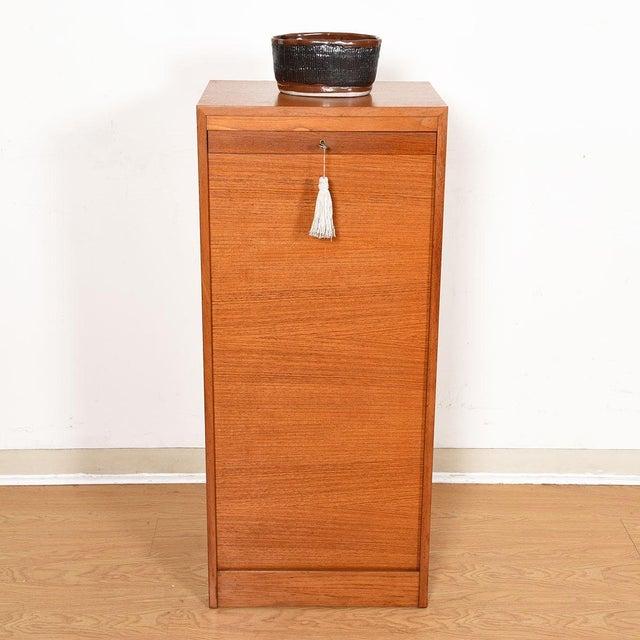 Wood Danish Teak Locking Tambour Door Filing Cabinet For Sale - Image 7 of 9