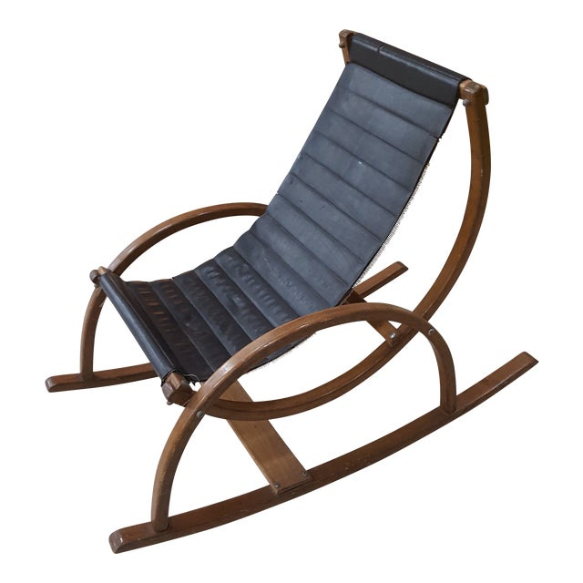 Pleasing Mid Century Modern Child Size Sling Rocking Chair Lamtechconsult Wood Chair Design Ideas Lamtechconsultcom
