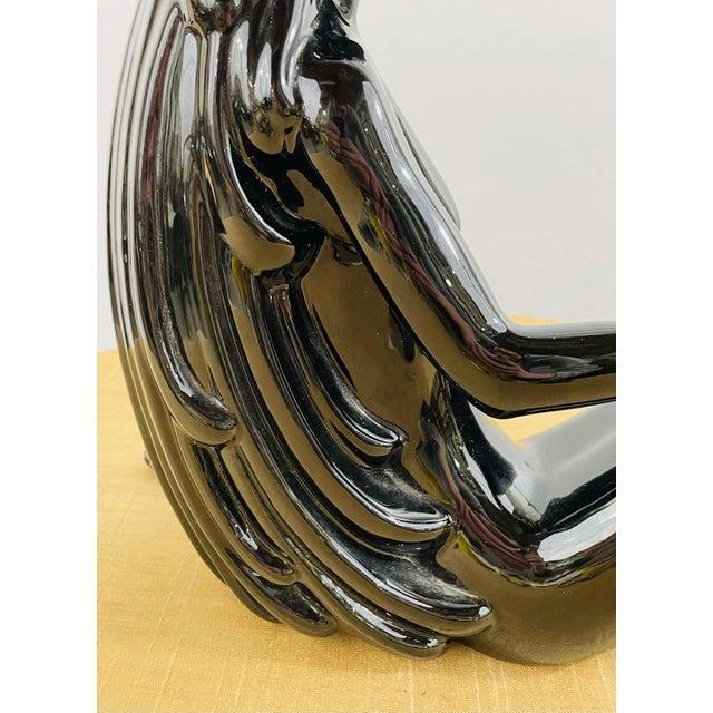 Art Deco Style Porcelain Figural Woman Sculpture Painted Black For Sale - Image 9 of 13