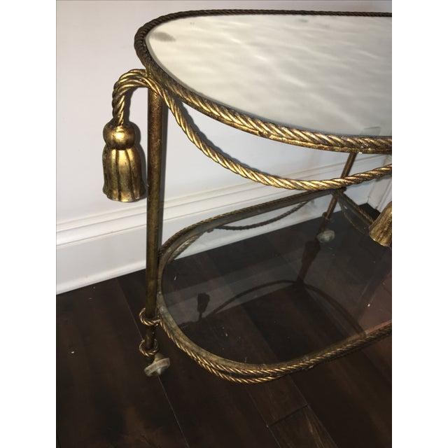 Italian Gold Faux-Rope Bar Cart - Image 6 of 6