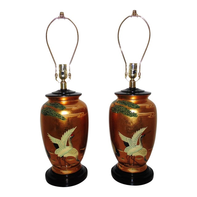 Vintage Chinoiserie Gold Table Lamps W/ Birds Herons - a Pair For Sale