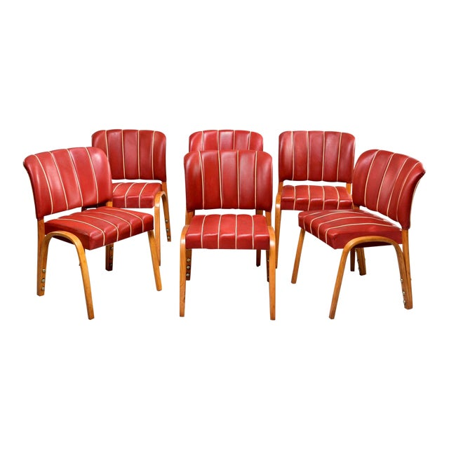 Italian Mid Century Bentwood Dining Chairs With Original Red Vinyl Upholstery - Set of 6 For Sale