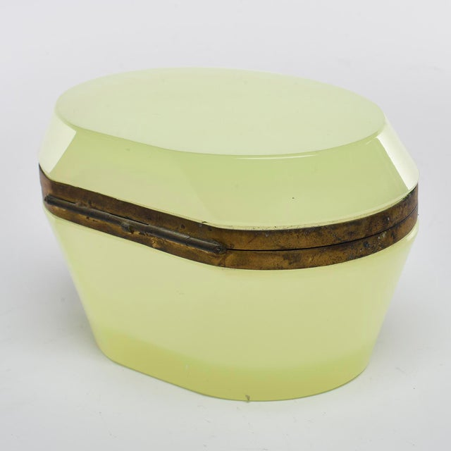 French French Oval Uranium Opaline Glass and Brass Box For Sale - Image 3 of 8