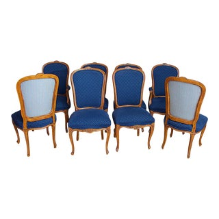 French Louis XV Style Carved Walnut With Blue Upholstery Dining Chairs - Set of 8