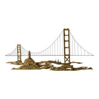 1960s Vintage Brutalist San Francisco Bridge Metal Wall Sculpture For Sale