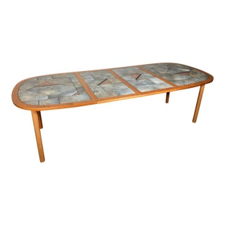Danish Teak and Tile Extending Dining Table Seats 10 For Sale