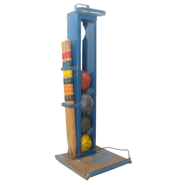 Vintage Croquet Game for Four w/ Stand For Sale - Image 4 of 5