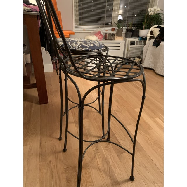 Vintage from 1990s heavy wrought iron bar stools