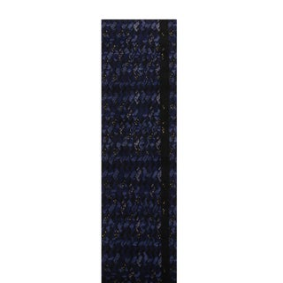 Rug & Kilim's Scandinavian-Inspired Geometric Black and Blue Wool Pile Runner For Sale