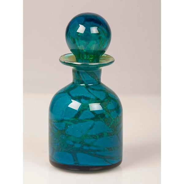 Modern A Pair of Vintage Hand Blown Blue and Green Glass Decanters circa 1970 For Sale - Image 3 of 11