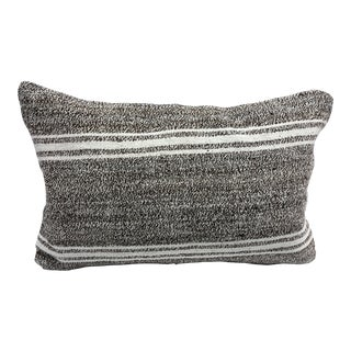 Vintage Turkish Striped Kilim Pillow Cover For Sale
