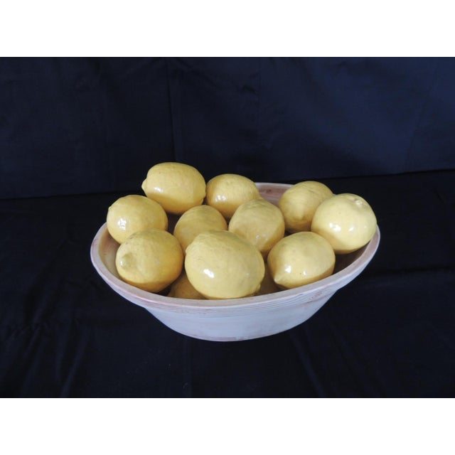 Ceramic Trompe-l'Oeil Lemons Inside Faux Wooden Porcelain Basket For Sale - Image 7 of 7